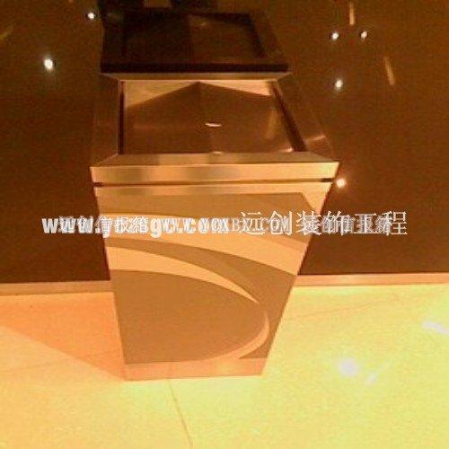商场高档不锈钢镀钛金垃圾桶
